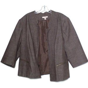 Roz & Ali Open Front Blazer 2-Zipper Pockets Brown
